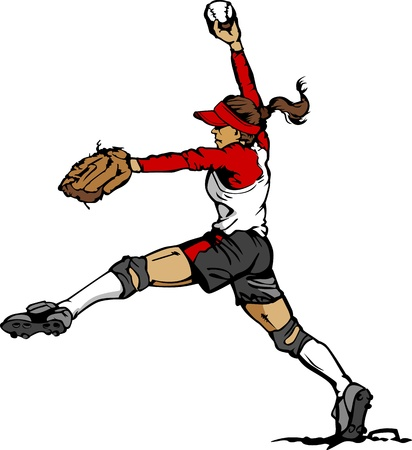 softbol: Rápida Pitch Softball lanzador Vector ilustración