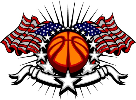 holiday: Basketball Vector Template with Flags and Stars