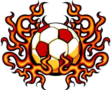 futbol: Modello di calcio con Vector Image Flames