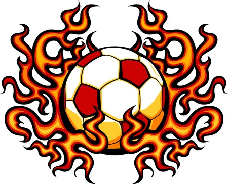 futbol: Soccer Template with Flames Vector Image