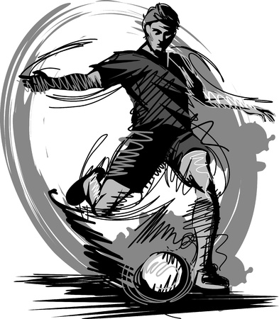 futbol: Soccer Player Kicking Ball Vector Illustration