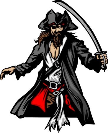 pirates: Pirate Mascot Standing with Sword and Hat Graphic Vector Illustration