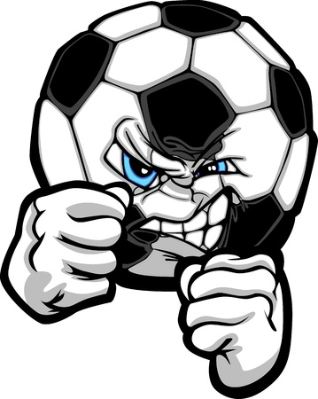 futbol: Sketch Illustration of a Soccer Ball with Face and Fighting Hands
