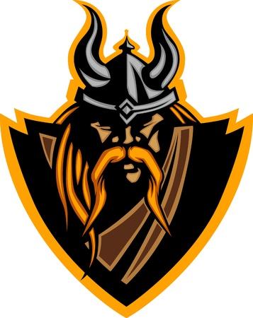 vikings: Viking Norseman avec casque Image graphique vectoriel des mascottes Illustration