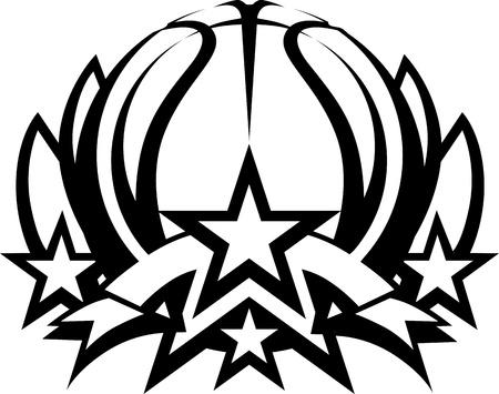 baloncesto: Baloncesto con la imagen gr�fica Estrellas Vector plantilla