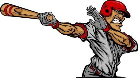 hitting: Cartoon Baseball di un Bat Baseball Hitter Swinging Vettoriali