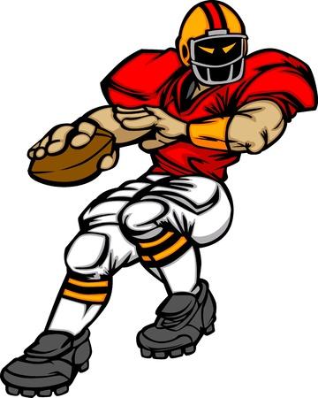 voetbal silhouet: Cartoon Vector Silhouet van een Cartoon Football Player gooien Ball