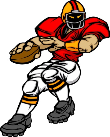 football players: Cartoon Vector Silhouette of a Cartoon Football Player Throwing Ball