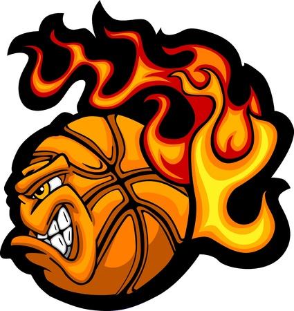 brandweer cartoon: Flaming Basketbal Ball Gezicht Vector Illustratie Stock Illustratie