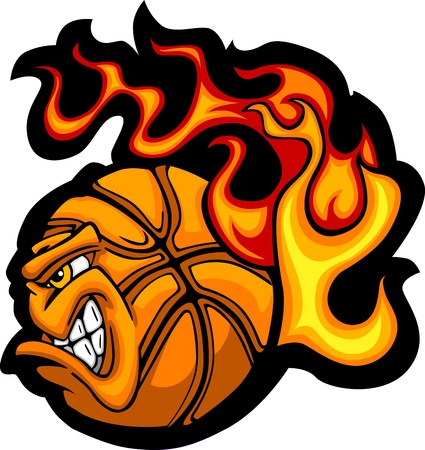 basket ball: Flaming Basketball Ball Face Vector Illustration  Illustration