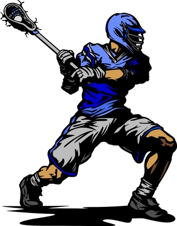 cradling: Lacrosse Player Cradling Ball Vector Illustration