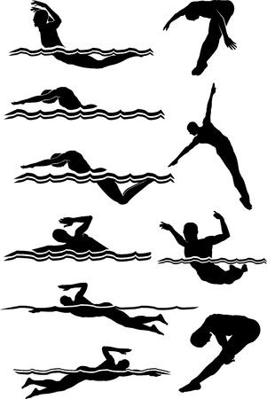 nurkować: Mężczyzna pÅ'ywanie i nurkowanie Silhouettes Obrazy wektorowe