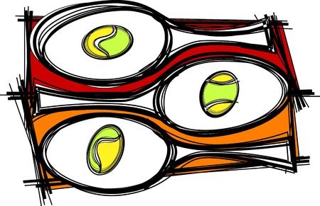 tenis: Tennis Racquette Template Vector Illustration