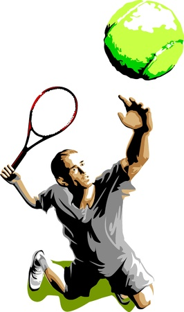 hitting: Tennis Servire illustrazione vettoriale Silhouette