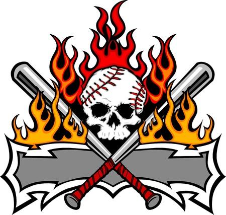 softbol: Flaming Bates de béisbol y la imagen de la plantilla de cráneo Vectores