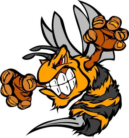 abeja caricatura: Abeja o Hornet combates mascota organismo Vector ilustración
