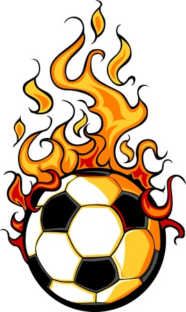 futbol soccer dibujos: Flaming Soccer Ball Vector Cartoon incendio con llamas de fuego