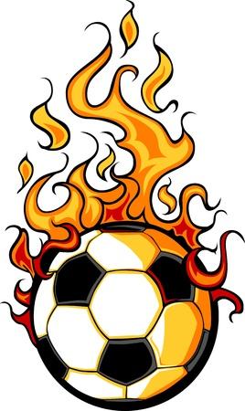 Flaming Voetbal Vector Cartoon branden met vlammen