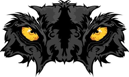 Graphic Team Mascot Afbeelding van Panther Eyes Vector Illustratie