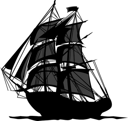 colonial: Sailing Pirate Ship with Sails Graphic Vector Image