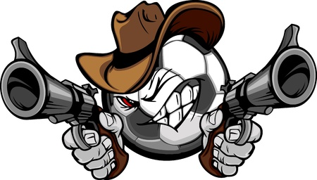 shootout: Soccer Ball Cartoon Face with Cowboy Hat Holding and Aiming Guns
