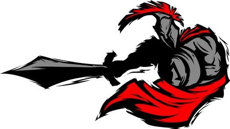 Troyano o espartano Vector mascota silueta con espada