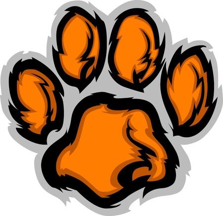 Tiger Paw imagen gráfica de Vector de mascota Ilustración de vector