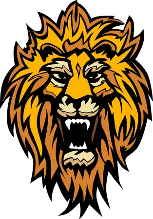 Graphic Mascot Image of a Lion Head 版權商用圖片 - 10963534