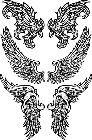 Angel & Demon Wings Ornate Vector Images Çizim