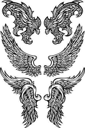 Angel & Demon Wings Ornate Vector Images Illustration