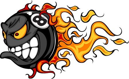 lángok: Flaming Eight Ball Face Cartoon illusztráció vektor Illusztráció