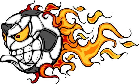 futbol soccer dibujos: Flaming Soccer Ball cara caricatura ilustración vectorial