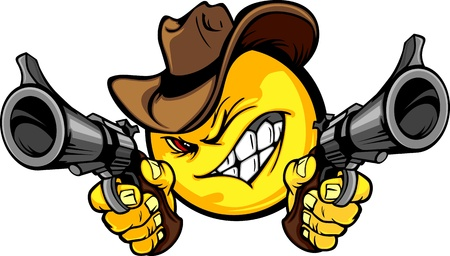 shootout: Cowboy Smile Face Vector Image Aiming Guns Illustration