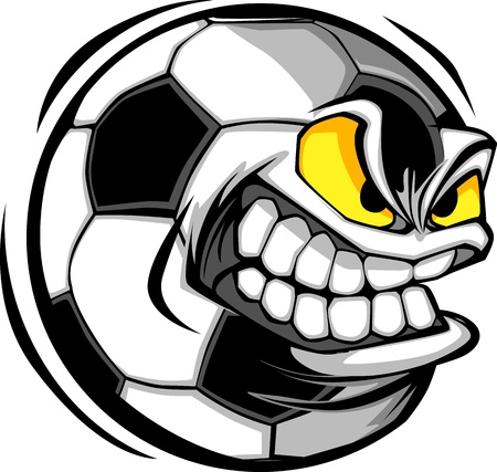 mean: Vector Cartoon Soccer Ball with Mean Face
