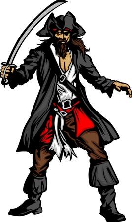 braqueur: Pirate Captain tenant une �p�e et de porter chapeau Image vectorielle graphique Illustration