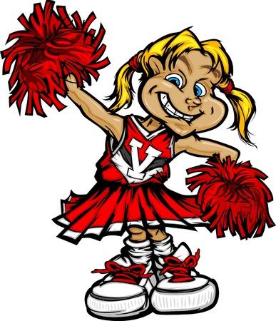 cheerleader: Little Girl Cheerleader with Pom Poms Vector Illustration Illustration