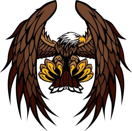 aigle: Voler aigle aux ailes et des serres graphique Image vectorielle Mascot Illustration