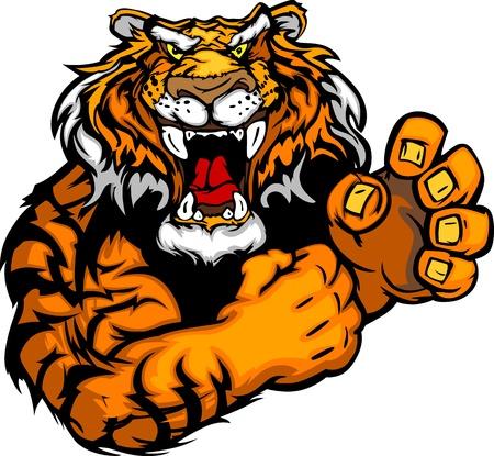 tigre caricatura: Tiger Fighting Ilustraci�n de la mascota del Cuerpo vectorial Vectores