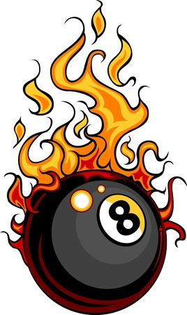 bola ocho: Flaming billar bola ocho Vector Cartoon incendio con llamas de fuego Vectores