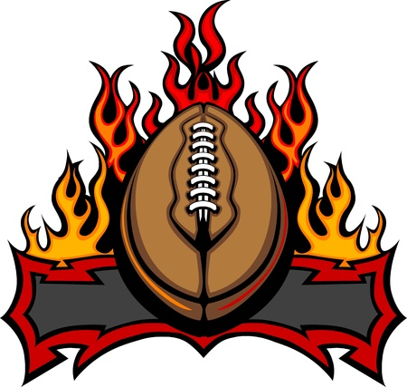 Graphic American Football Vector Image Template with Flames Illustration