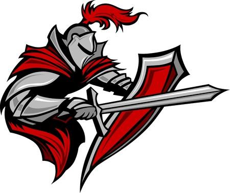 Krieger oder Medieval Knight Vector Mascot tragen Rüstung