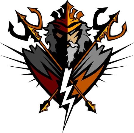 blitz symbol: Griechischer Gott Tridents und Lightning Bolt Graphic Vector Image Illustration