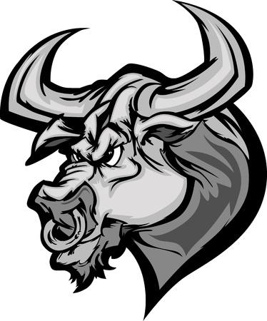toros bravos: Imagen de mascota de dibujos animados de una cabeza de Toro de Longhorn Vectores