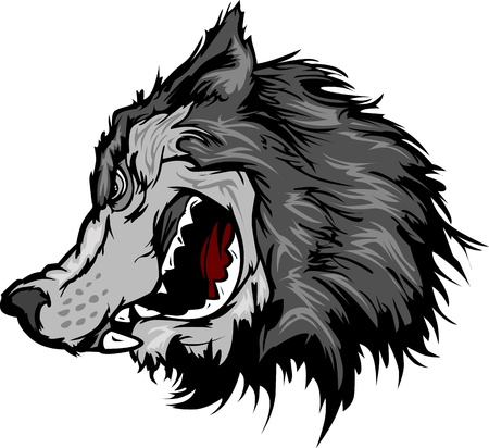 Cartoon Mascot Image of a Grey Wolf Head