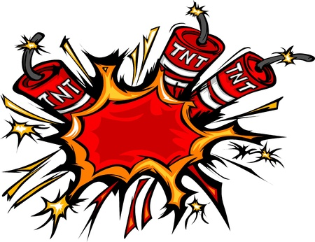 Cartoon image of a Exploding Dynamite Sticks Illustration