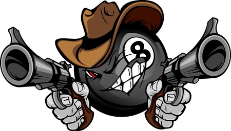 six shooter: Cartoon image of a Billiards Eight ball with a face and cowboy hat holding and aiming guns