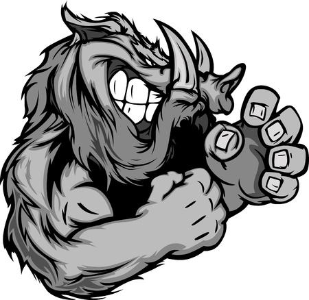 cerdo caricatura: Razorback o jabalí lucha cuerpo ilustración de mascota