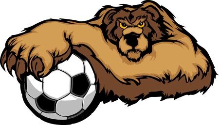 집게발: 축구 공에 발을 가진 곰의 그래픽 마스코트 이미지