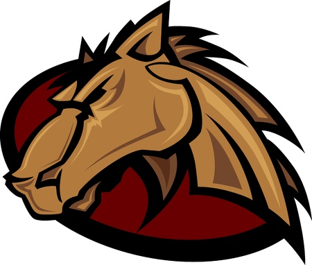 Graphic Mascot of a Mustang Bronco Horse
