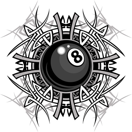 game of pool: Graphic of a Billiards Eight ball with Tribal Borders Illustration